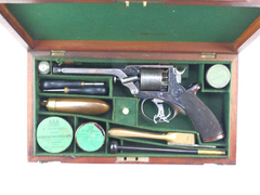 Antique Guns for sale UK Percussion Revolver by Rigby Co 54-Bore Tranter Patent Fourth Model Self-Cocking Five-Shot Cylinder Dublin
