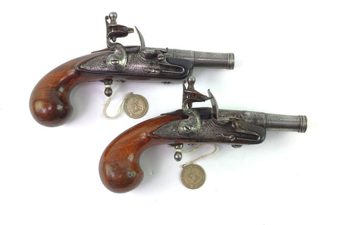 Flintlock Pistols Toby Pair UK Antique Guns for Sale Keith Neal and D.H.L. Back, Great British Gunmakers 1540-1740