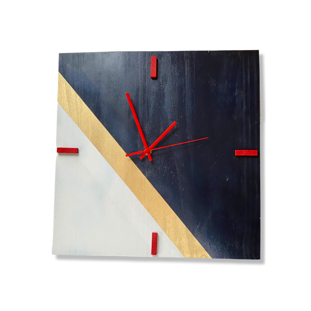 Gold Stripe Square Clock