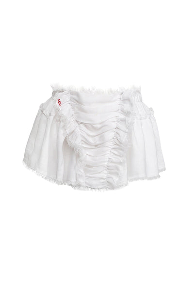 white bohemian linen mini skirt
