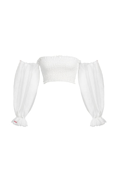 white puffy sleeves elastic top