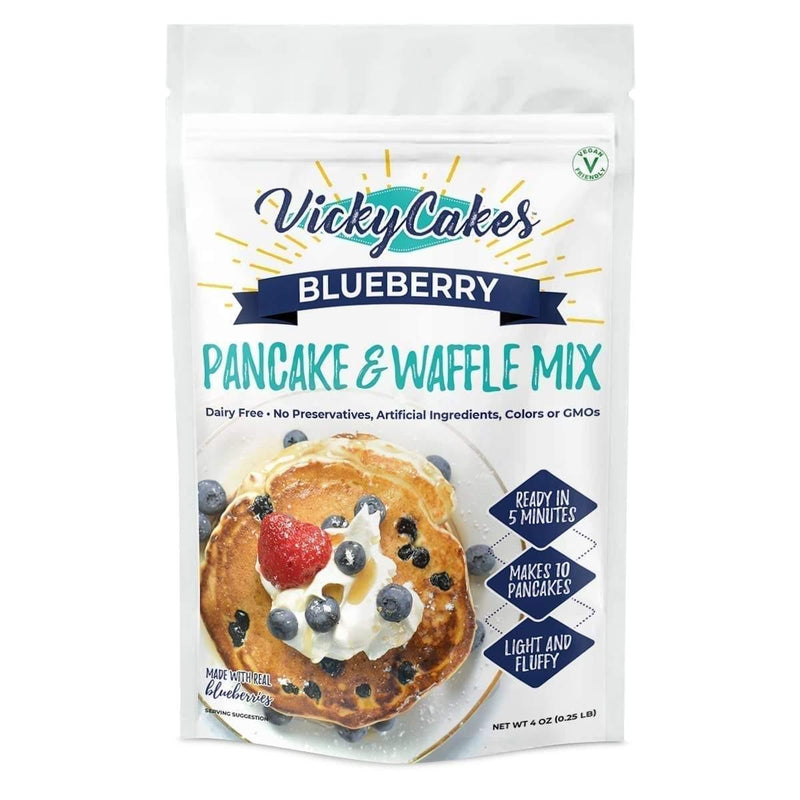 Vicky Cakes Blueberry Vegan Friendly Dairy Free Pancake and Waffle Mix-4 oz - FLOWS Grocery