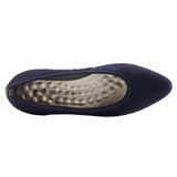 Hanna: Navy Textured Stretch Fabric/Navy Leather LIMITED STOCK
