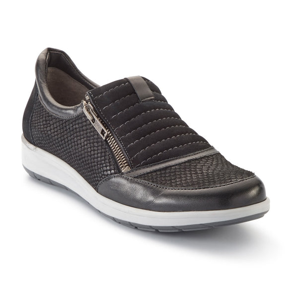 Orion: Black Matte Snake Print/Nubuck/Leather