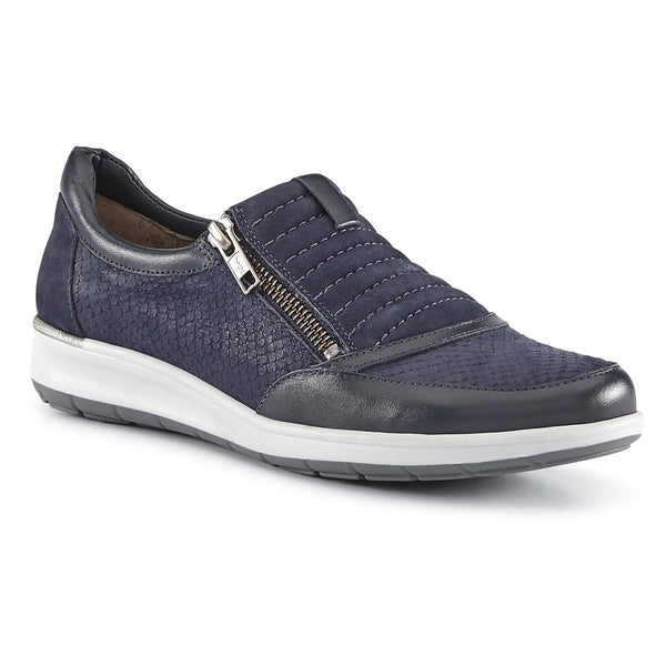 Orion: Navy Matte Snake Print/Nubuck/ Leather