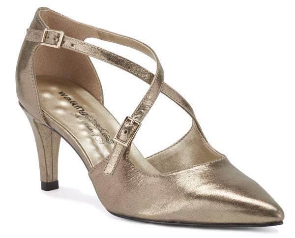 Image of the Stella. A mid bronze leather high heel with two delicate straps that crisscross over the front. This two and a half inch heel has a pointed toe and two small buckles on the straps. Available in wide width and extra wide widths.