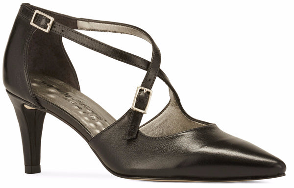 Image of the Stella. A black leather high heel with two delicate straps that crisscross over the front. This two and a half inch heel has a pointed toe and two small buckles on the straps. Available in wide width and extra wide widths.