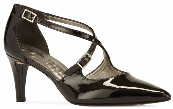 Image of the Stella. A black patent leather high heel with two delicate straps that crisscross over the front. This two and a half inch heel has a pointed toe and two small buckles on the straps. Available in wide width and extra wide widths.