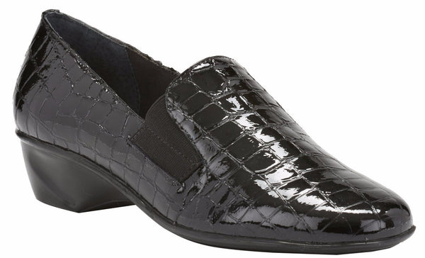 Teri: Black Croco Patent Print Leather
