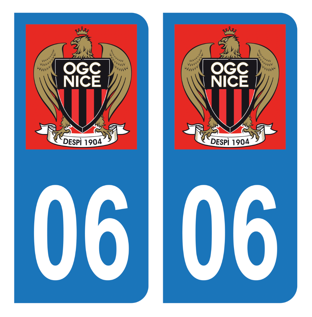Autocollant Plaque d'immatriculation 06 Club OGC Nice