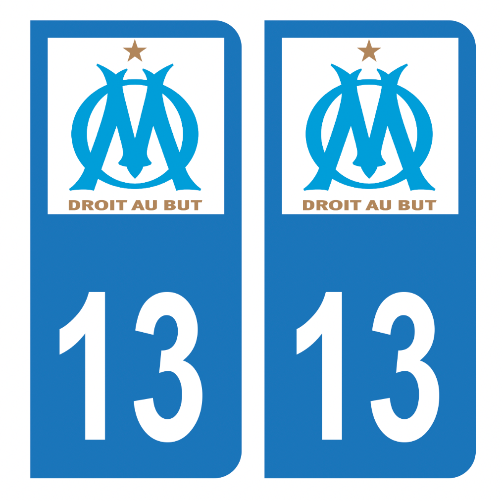 Autocollant Plaque d'immatriculation 13 Club OM