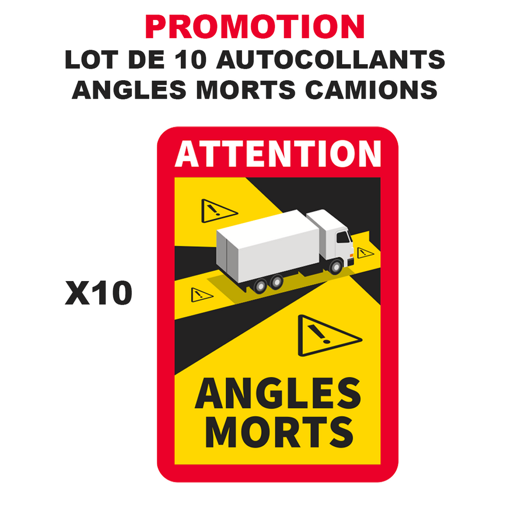 Lot 10 Autocollant Danger Angles Morts