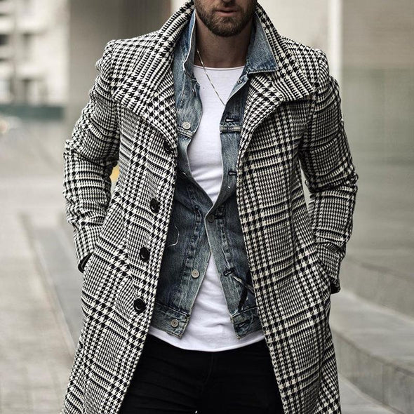 Button Plaid Mid-Length A Line Casual Coat