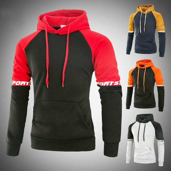 Men's Outdoor Casual Sweatshirt Patchwork Fleece Hoodies