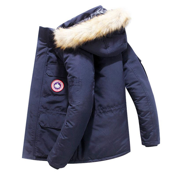 Men's Winter Warm Parka Thick Cotton Hooded Outwear