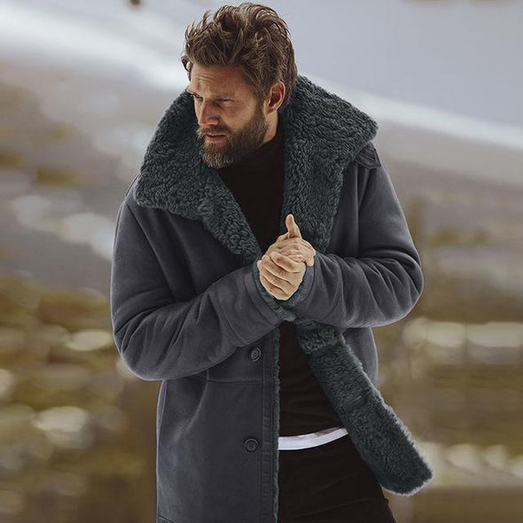 Men Fleece Lined Thick Warm Woolen Overcoat