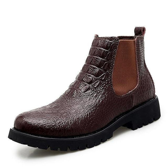 Men's Fashion Leather Motorcycle Casual Chelsea Ankle Boots
