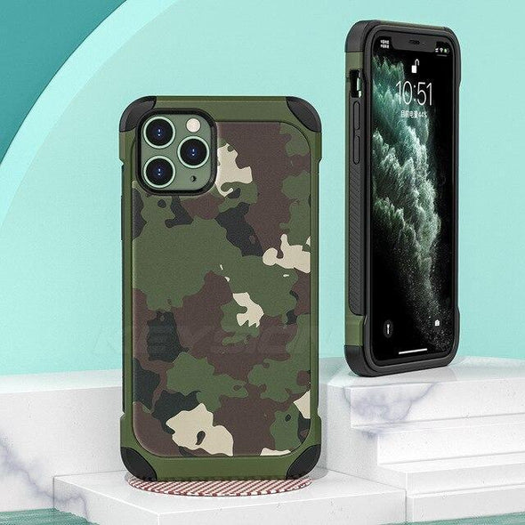 Camo Anti-fall Silicone Phone Back Cover for iPhone 11 Pro Xs Max XR