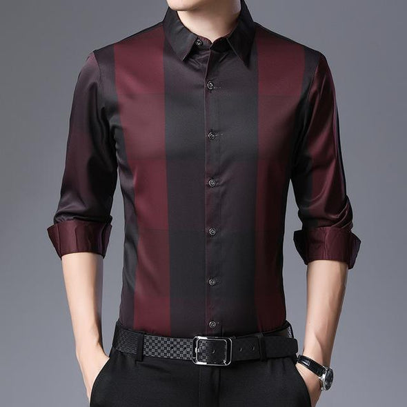 Men's Long Sleeve Plaid Shirts Slim Fit Dress Shirt