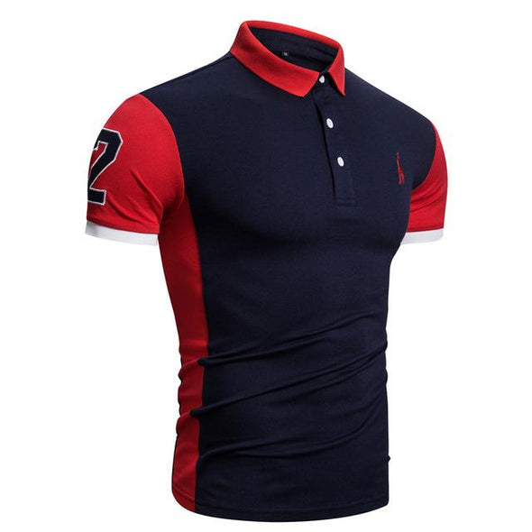 Patchwork Embroidery Short Sleeve Cotton Polo Shirt
