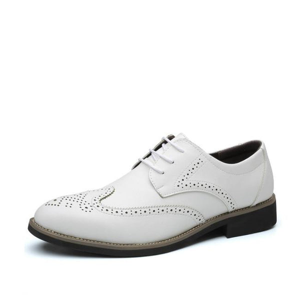 Men's Classic Breathable Leather Brogue Dress Shoes