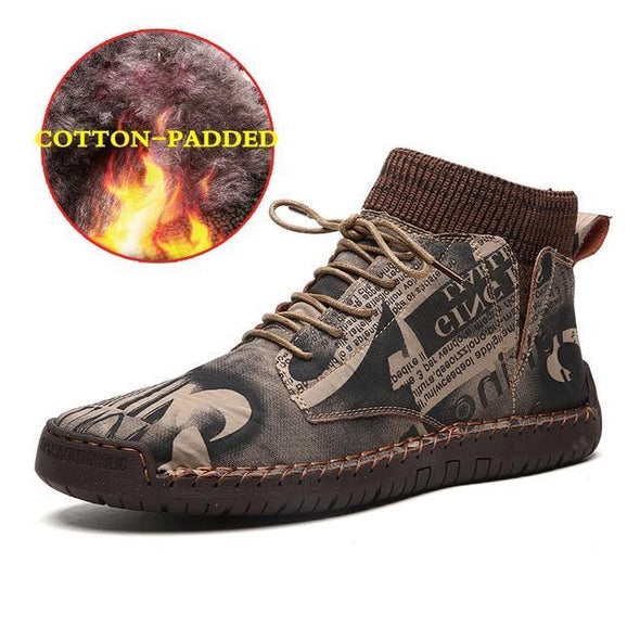 Men's Genuine Leather Casual Lace-Up Ankle Boots with Fur