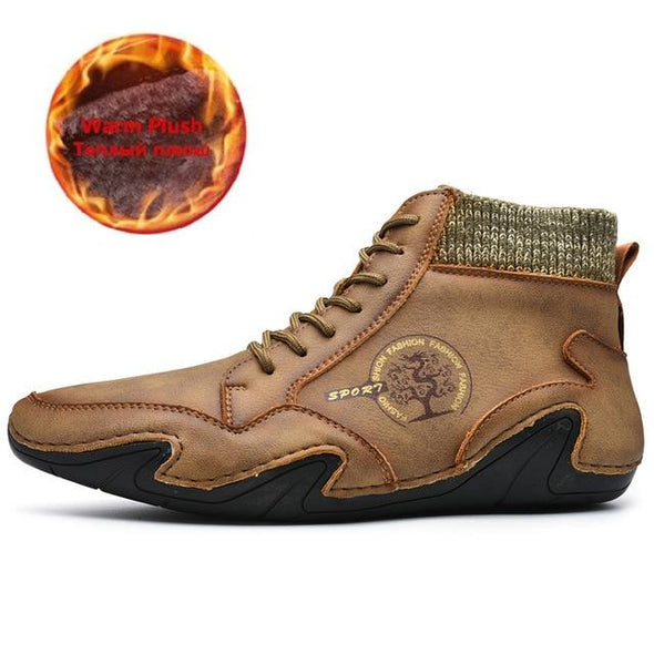 Men's Autnmn Winter Handmade Warm Leather Ankle Boots