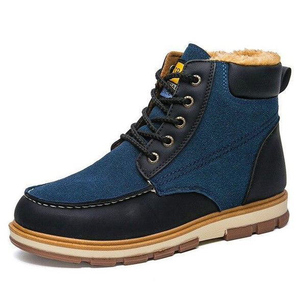 Men's Winter Warm Plush Leather Waterproof Snow Boots