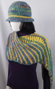 B106 Blue/yellow handspun wool scarf, knitted, SALE 20% off