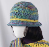 A105 Blue, yellow crocheted hat, SALE 20% off