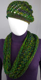 B101 Forest green crocheted cowl scarf, SALE 20% off