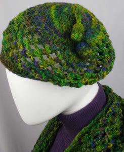 A101 Forest green crochet cap, SALE 20% off