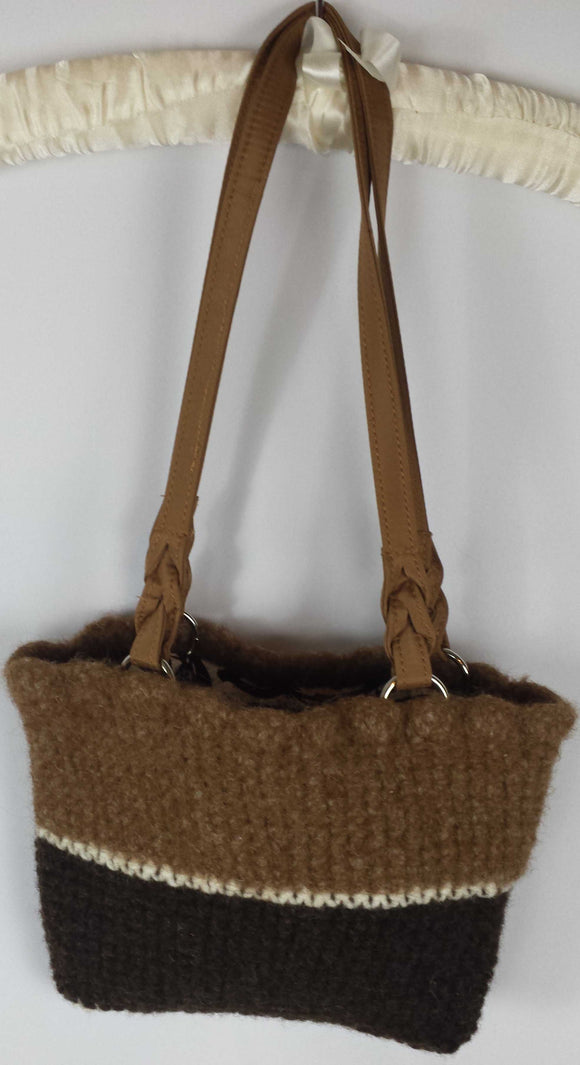 C122 Brown knitted felted purse, SALE 20% off
