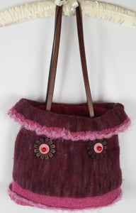 C119 Magenta knitted felted purse, SALE 20% off