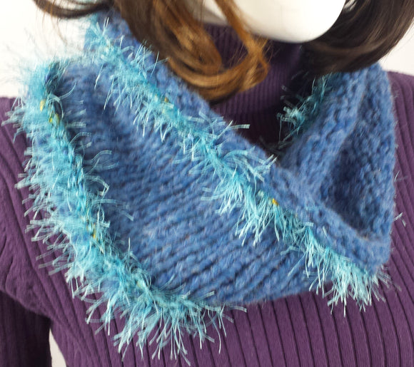 B102 Medium blue cowl scarf with eyelash yarn, SALE 20% off