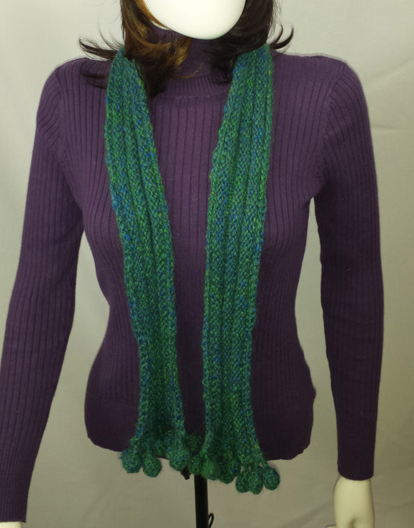 B108 Dark aqua handspun wool scarf, SALE 20% off