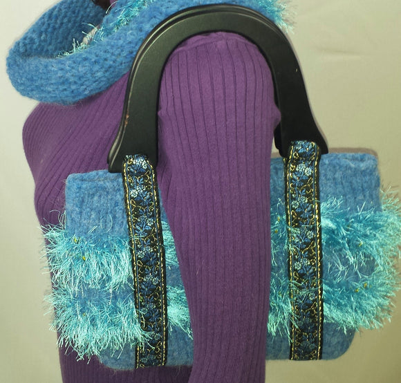 C100 Medium blue purse with ribbon and eyelash yarn, SALE 20% off