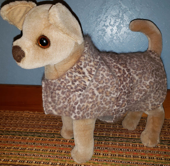 E111 Dog coat, leopard print, SALE 20% off