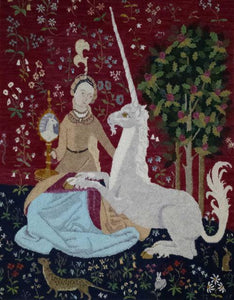 "Lady & the Unicorn Pattern on linen, 34.5""x45.5"""