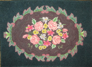 "Antique Flower Rug, 33.5""x24.5"""