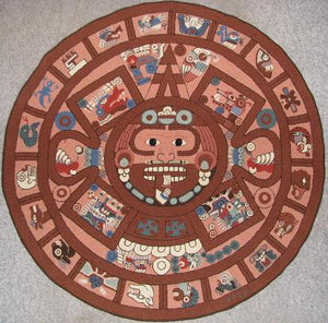 "Aztec Calendar Pattern on linen, 60"" diameter"