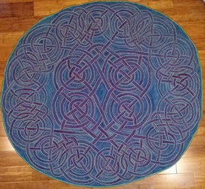 "Celtic Love Knot Pattern on linen, 46"" diameter"