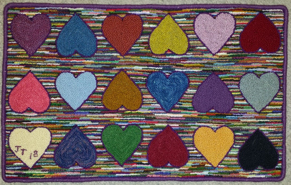 Hearts Pattern on linen, 30