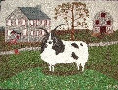"Jacob Farm Pattern on linen, 36""x25"""