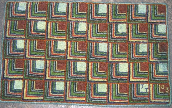 Log Cabin Pattern on linen, 18.5