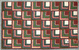 "Log Cabin Pattern on linen, 18.5""x29.5"""