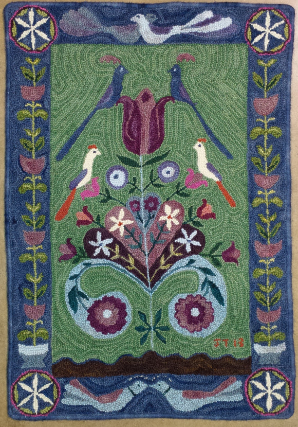 Lovebirds Pattern on linen, 21.5