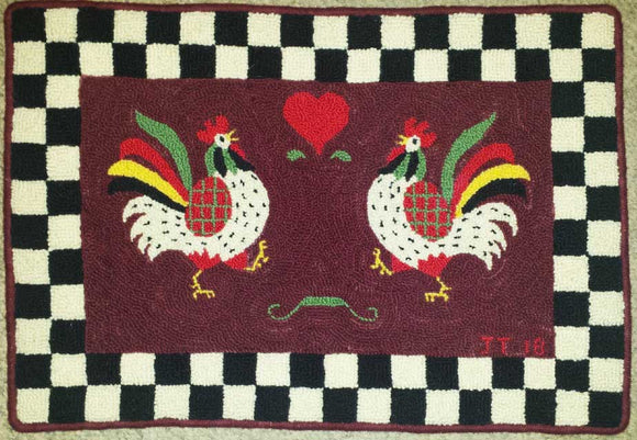 Rooster Pattern on linen, 18