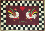 "Rooster Pattern on linen, 18""x26"""