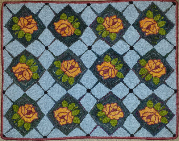 Roses & Diamonds Pattern on linen, 26.5